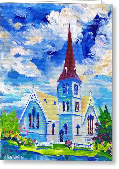 White Church Blue Sky Greeting Card