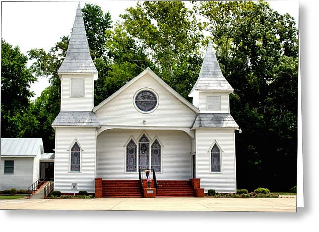White Church Building Greeting Card by Carolyn Ricks