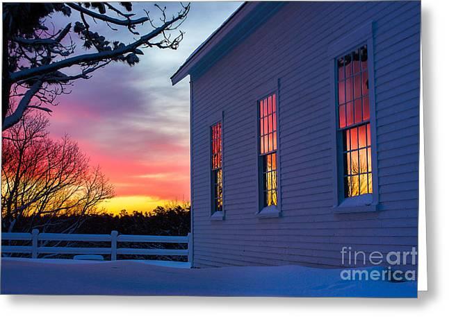 White Church Windows Greeting Card