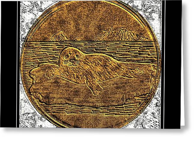 White Coat Seal - Brass Etching Greeting Card by Barbara Griffin