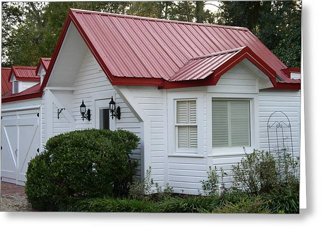 White Cottage Red Roof In Moultrie Georgia 2004 Greeting Card by Cleaster Cotton