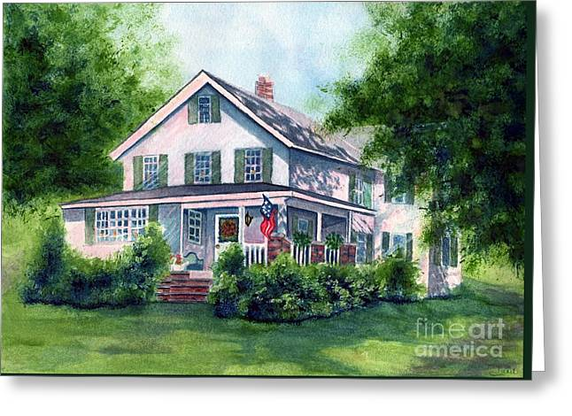 White Country Farmhouse Greeting Card