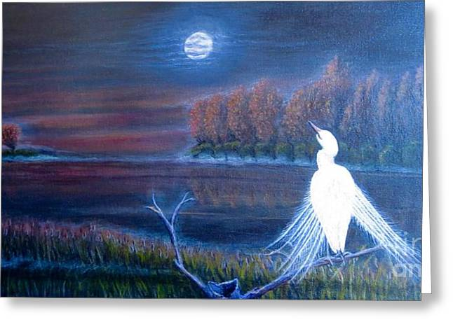 White Crane Dancing In The Light Of The Moon Greeting Card by Kimberlee Baxter