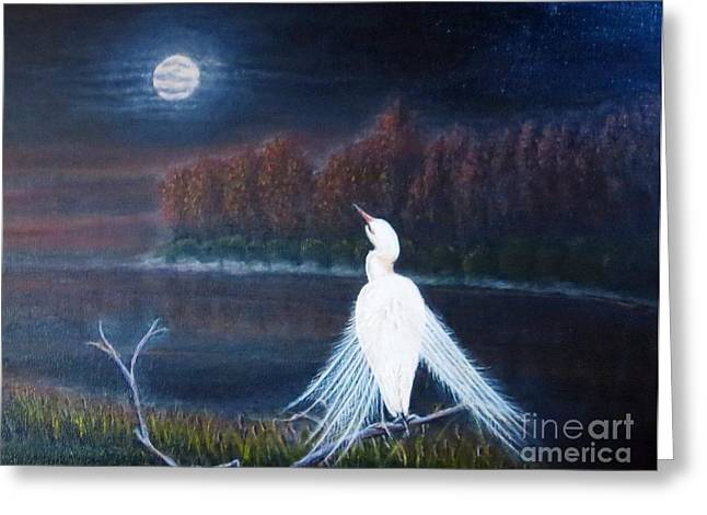 White Crane Dancing Under The Moonlight Cropped Greeting Card by Kimberlee Baxter