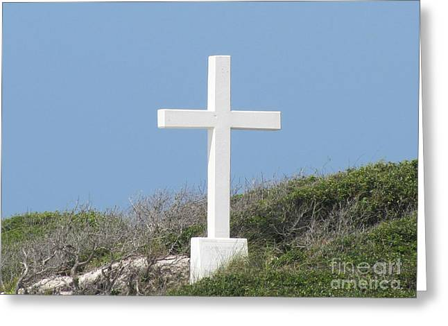 White Cross Greeting Card by Michelle Powell