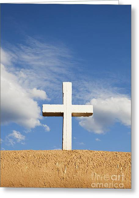 White Cross On Adobe Wall Greeting Card