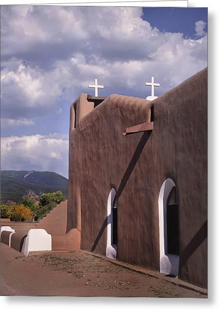 White Crosses At Taos Greeting Card by David and Carol Kelly