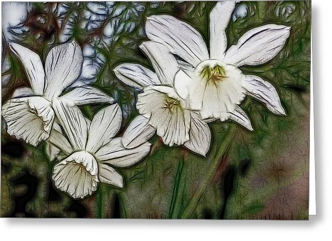 Greeting Card featuring the digital art White Daffodil Flowers by Photographic Art by Russel Ray Photos