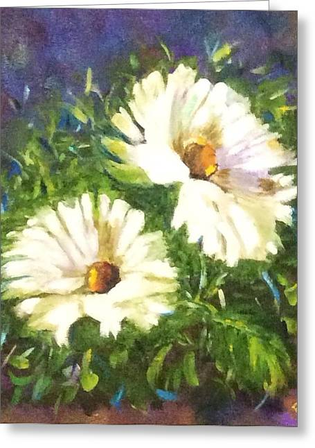 Greeting Card featuring the painting White Daisies  by Patti Ferron