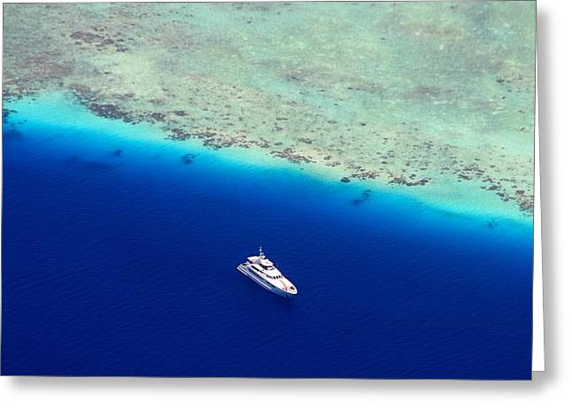 White Diving Boat Staying At Coral Reef Greeting Card by Jenny Rainbow
