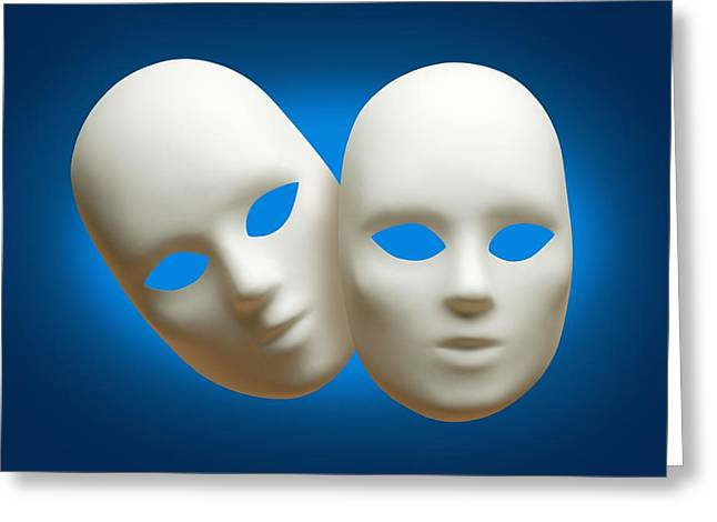 White Drama Masks Greeting Card by Don Hammond
