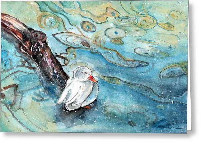 White Duck On The Constance Lake In Winter Greeting Card by Miki De Goodaboom