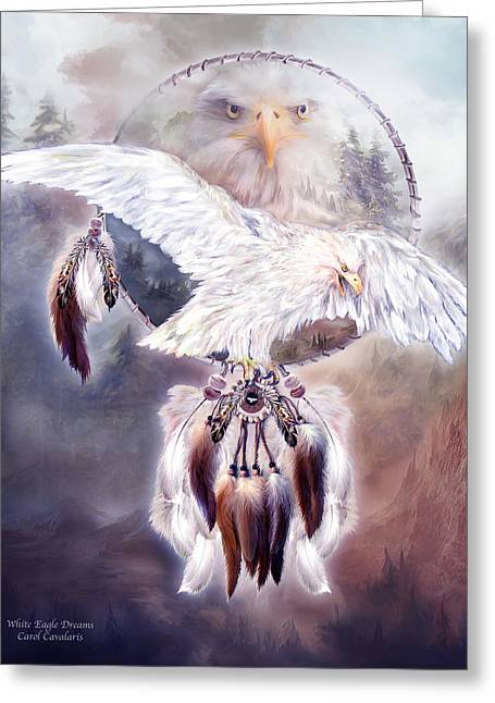 White Eagle Dreams 2 Greeting Card by Carol Cavalaris