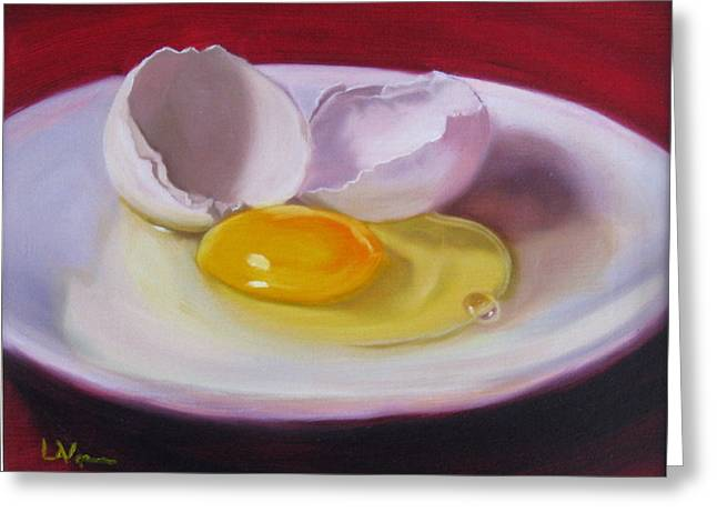 White Egg Study Greeting Card by LaVonne Hand