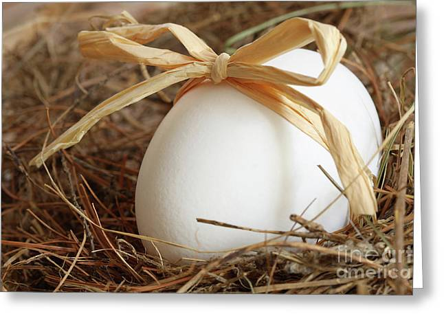 White Egg With Bow On Straw  Greeting Card by Sandra Cunningham