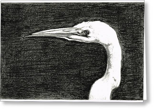 White Egret Art - The Great One - By Sharon Cummings Greeting Card by Sharon Cummings