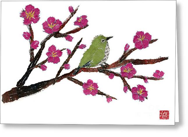 White Eye And Japanese Plum Tree Greeting Card by Keiko Suzuki