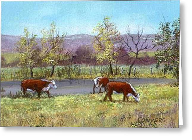 White Face Cows In Pasture Greeting Card by Peggy Conyers