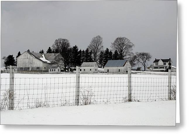 White Farm On A Gray Day  Greeting Card by Gene Walls