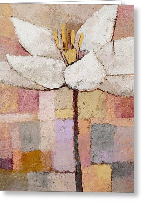 White Floral Greeting Card by Lutz Baar
