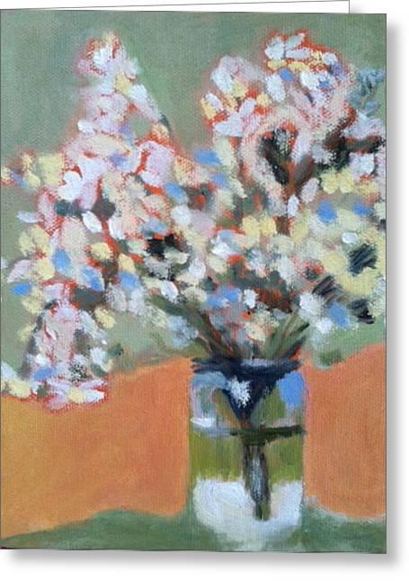 White Flower Mason Jar Greeting Card by Molly Fisk