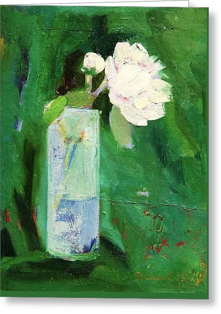 White Flower Greeting Card by Misuk Jenkins