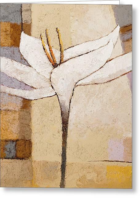 White Flower Painting Greeting Card by Lutz Baar