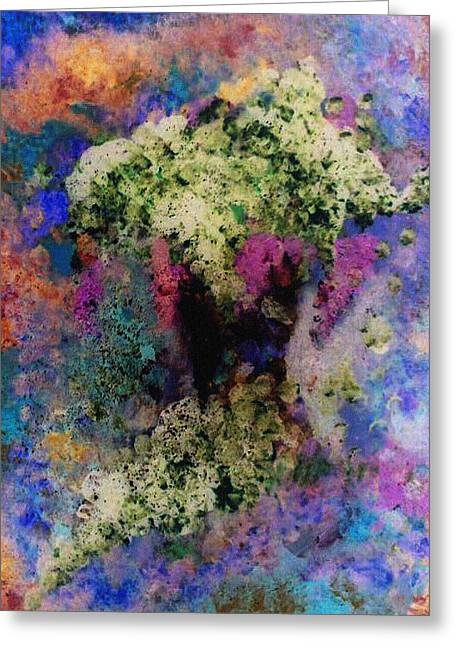White Flowers In A Vase Greeting Card by Lee Green
