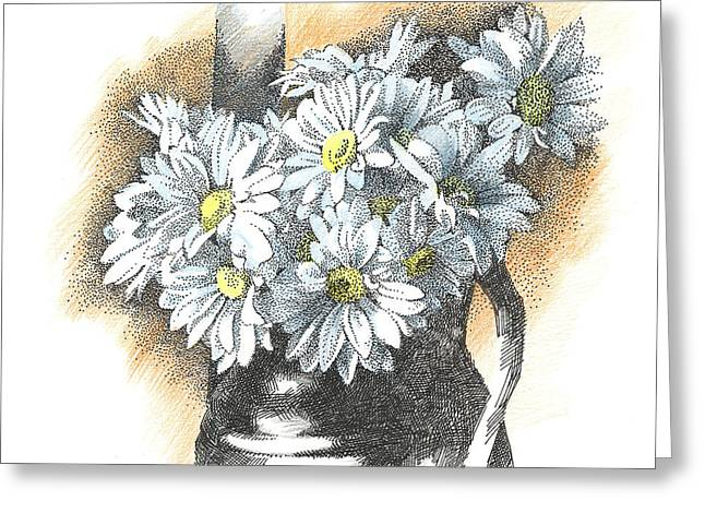 White Flowers Pointillism Drawing  Greeting Card