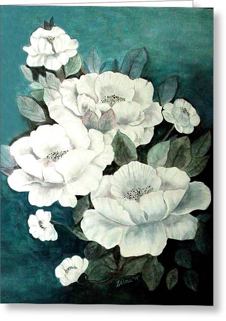 White Flowers Greeting Card by Zelma Hensel
