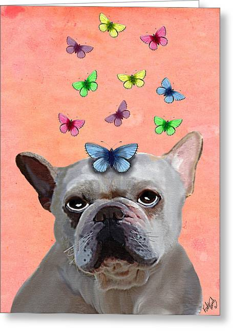 White French Bulldog And Butterflies Greeting Card by Kelly McLaughlan