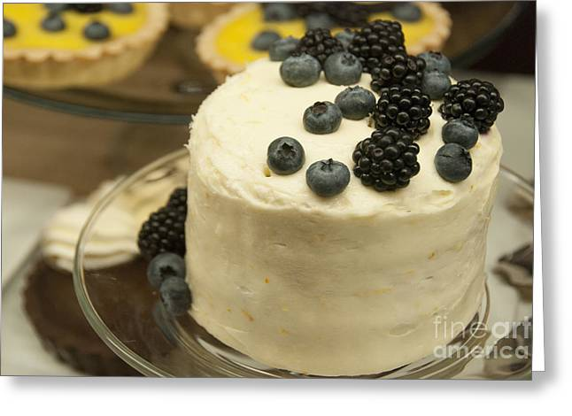 White Frosted Cake With Berries Greeting Card by Juli Scalzi