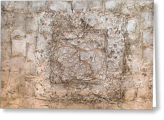White Gold Mixed Media Triptych Part 2 Greeting Card