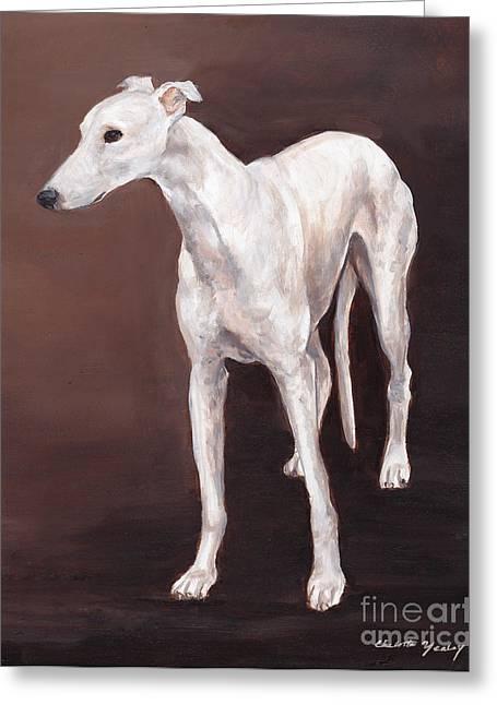 White Greyhound Greeting Card by Charlotte Yealey