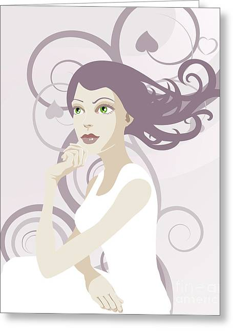 White Hair Lady  Illustration Greeting Card by Christos Georghiou