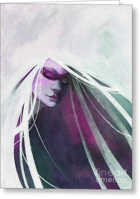 White Haired Girl Greeting Card