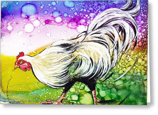 White Hen Illustration Greeting Card by GG Burns