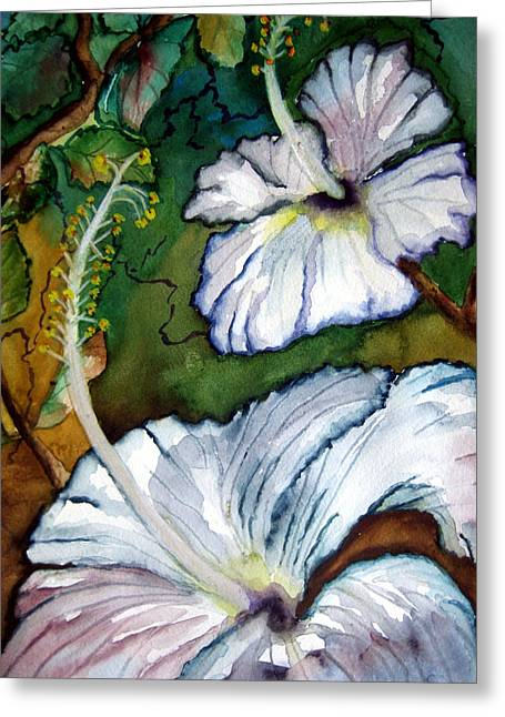 Greeting Card featuring the painting White Hibiscus by Lil Taylor