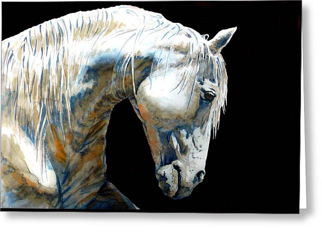 White Horse In Black Greeting Card by Jose Espinoza