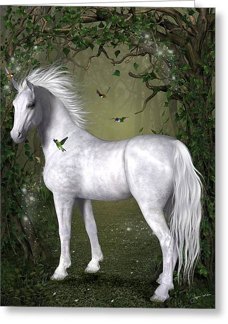 White Horse In The Woods Greeting Card