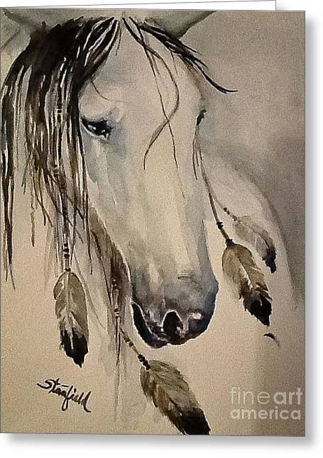 White Horse Listening Greeting Card