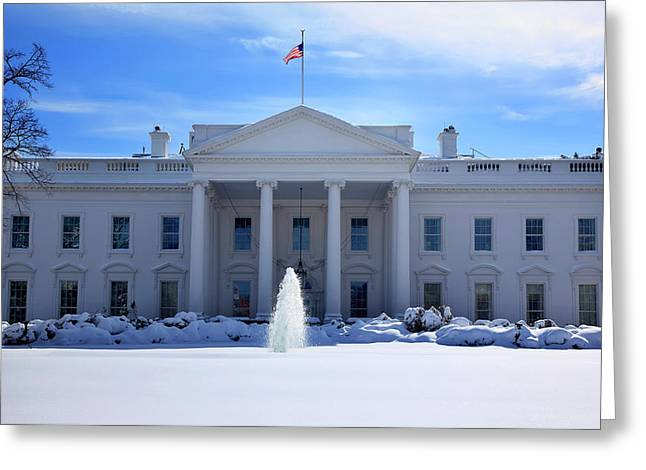 White House Fountain Flag After Snow Greeting Card