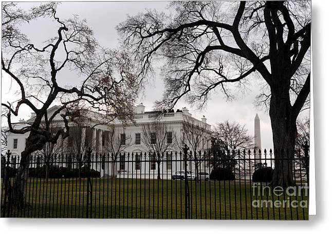 White House On A Cloudy Winter Day Greeting Card by Gary Whitton