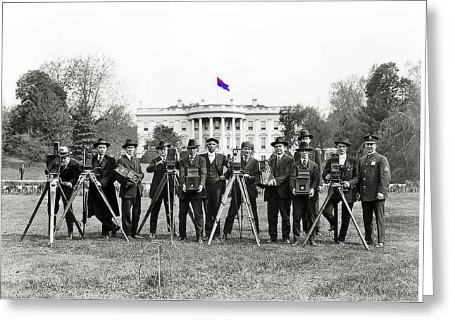 White House Photographers Harris And Ewing Glass Negative Washington D.c. 1918-2014 Greeting Card