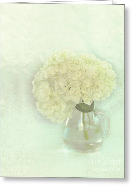 White Hydrangeas Greeting Card by Kay Pickens