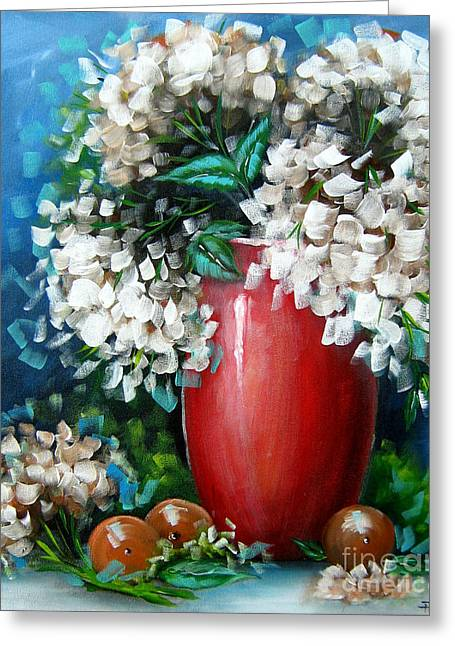 Greeting Card featuring the painting White Hydrangeas by Patrice Torrillo