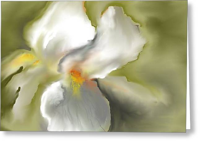 White Iris Greeting Card by Jessica Wright
