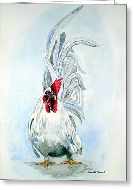 White Japanese Rooster Greeting Card by Amanda Hukill