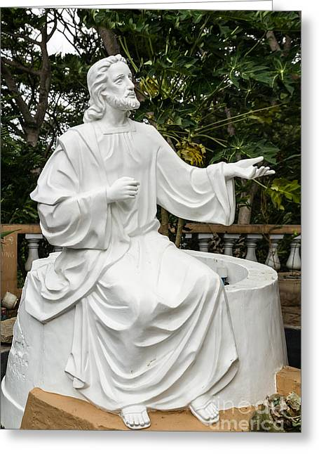 White Jesus Statue Greeting Card