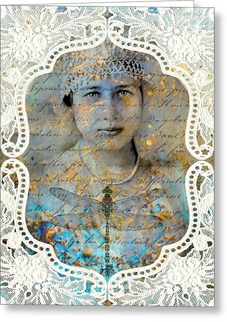 White Lace Greeting Card by Judy Wood